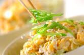 シラスとキヌサヤの卵丼の作り方3