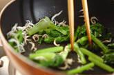 カブの葉とチリメンジャコの炒め物の作り方2