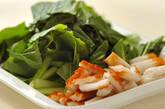 小松菜とちくわの煮浸しの下準備1