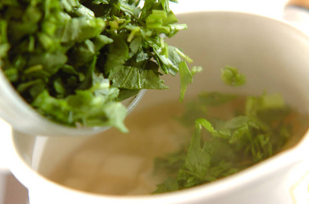 春菊と豆腐のサッパリスープの作り方の手順4