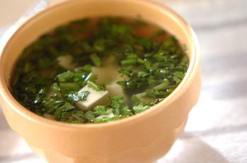 春菊と豆腐のサッパリスープ