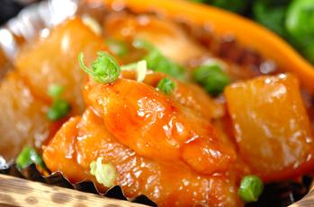 鶏肉とおでん大根の照り焼き