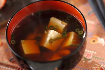 ささ身と豆腐のお吸い物