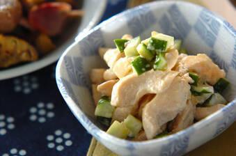 鶏むね肉とらっきょうのマヨ和えサラダ