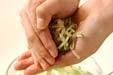 菊菜と芽ヒジキの白和えの下準備4