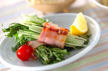 水菜のベーコン巻き