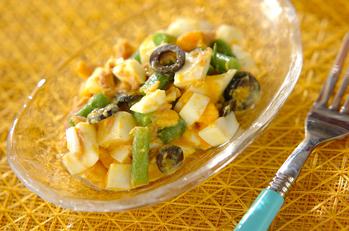 サヤインゲンとゆで卵のサラダ