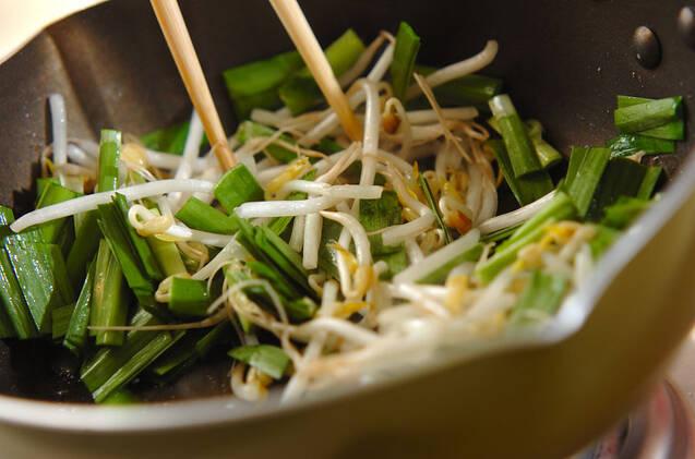 ニラとモヤシの卵焼きの作り方の手順5