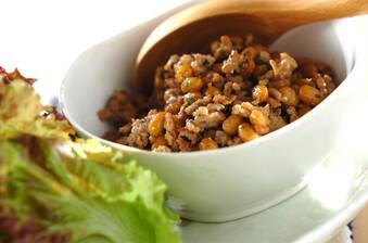 梅シソ肉納豆のレタス包み