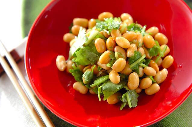 赤の皿に盛られた大豆とパクチーのサラダ
