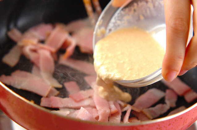 春菊のベーコンマヨサラダの作り方の手順2