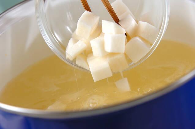 長芋の白みそ汁の作り方の手順3