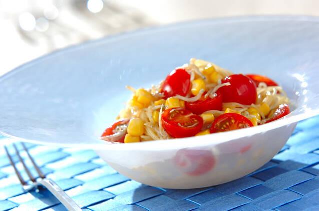 シラスとミニトマトの冷製パスタ