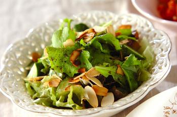 バルサミコドレッシングがけグリーンサラダ
