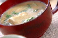 水菜の豆乳スープ