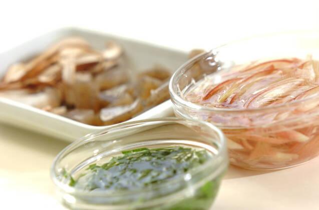 芽ヒジキとミョウガの白和えの作り方の手順2