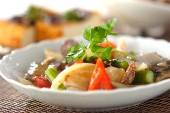 魚介とアスパラの塩炒め