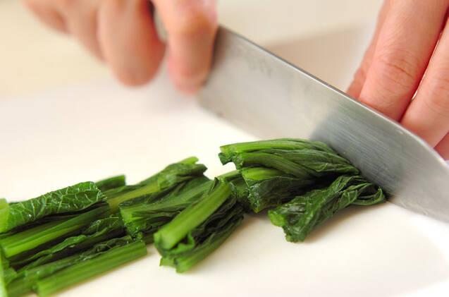 小松菜とシメジのからし和えの作り方の手順1