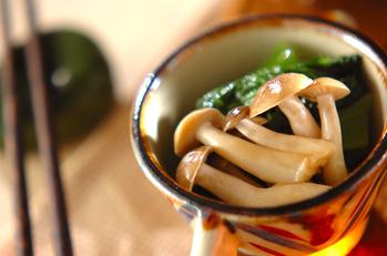 小松菜とシメジのからし和え