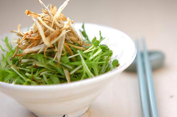 白い器に盛られた揚げごぼうと水菜のサラダと水色の箸