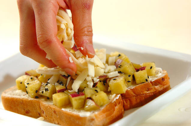 サツマイモのダブルチーズトーストの作り方の手順4