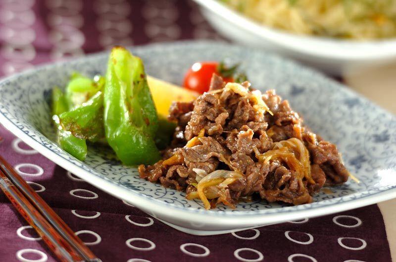 牛肉と万願寺とうがらしの味噌炒め