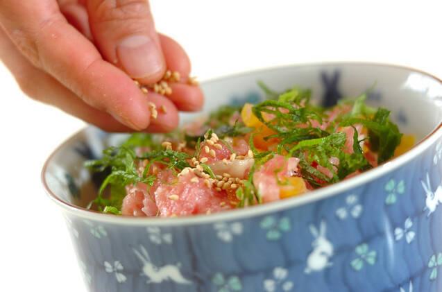 トロたく丼の作り方の手順5