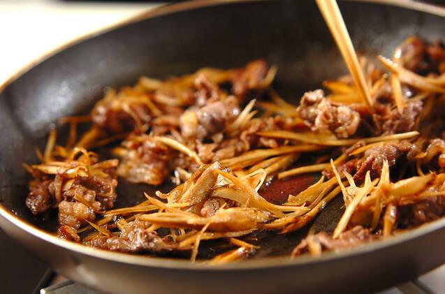 ゴボウと牛肉のしぐれ巻きの作り方の手順4