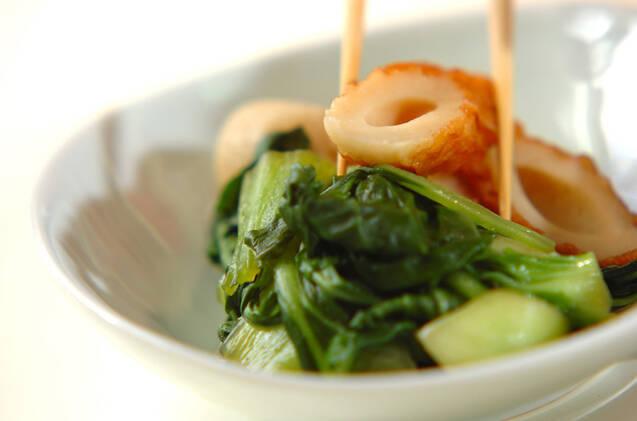 チンゲンサイとちくわの煮浸しの作り方の手順4
