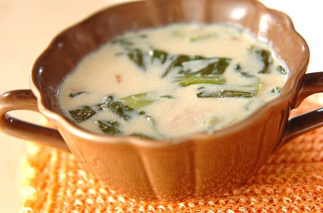 チンゲン菜とベーコンの豆乳スープ