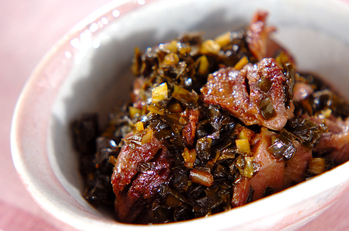 砂肝の青菜漬炒め