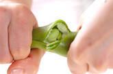 エノキとソラ豆のかき卵汁の下準備2