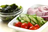 残り野菜のサッパリ冷やしスープの下準備1