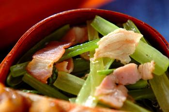 小松菜とベーコンの炒め物