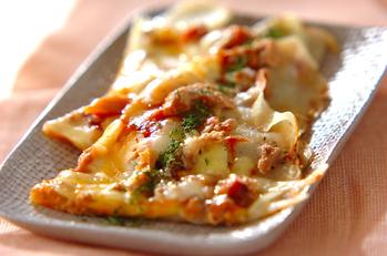 フライパンでジャガイモのピザ