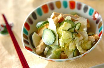 キャベツと油揚げのサラダ