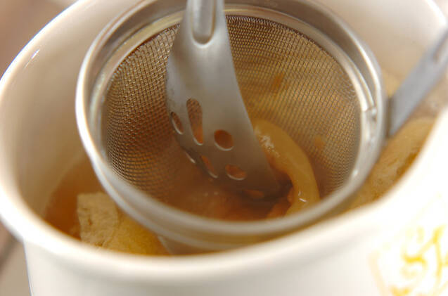サツマイモと油揚げのみそ汁の作り方の手順4