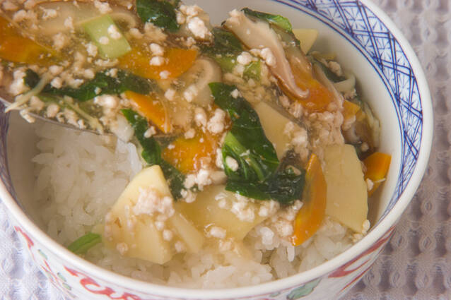 鶏ひき肉あんかけ丼の作り方の手順4