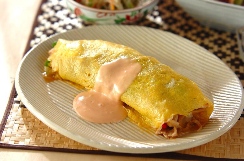 2.豚肉と玉ねぎの卵オムレツ