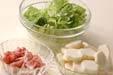 里芋と白菜のみそ汁の下準備1
