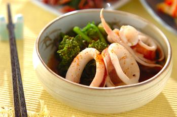 イカと菜の花の煮物