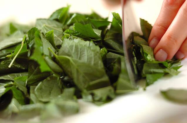 モロヘイヤとコーンのスープの作り方の手順1