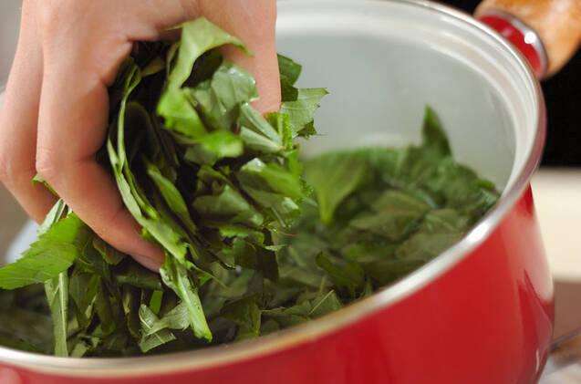 モロヘイヤとコーンのスープの作り方の手順3