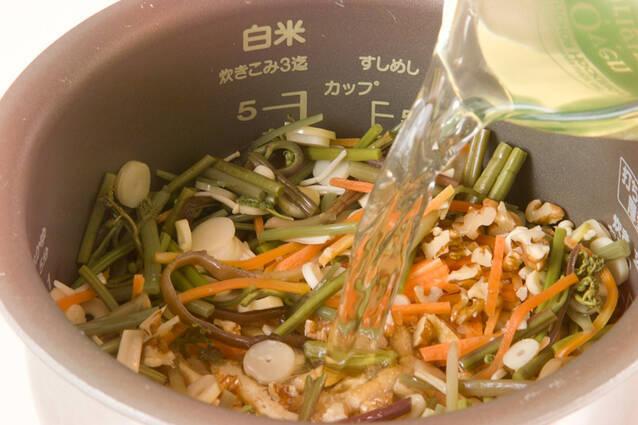 山菜炊きおこわの作り方の手順6