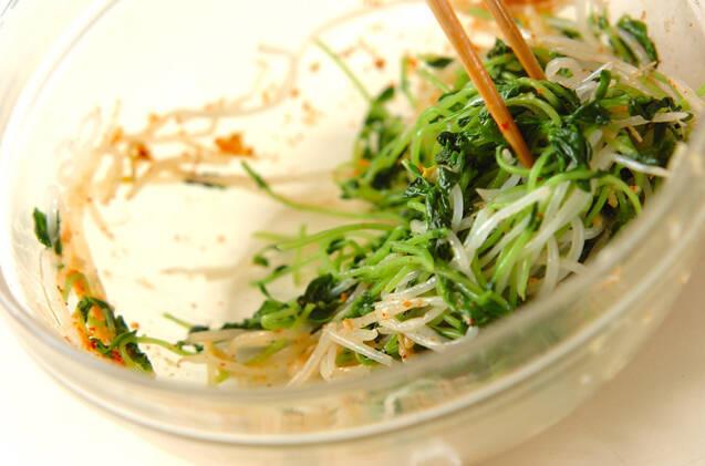 豆苗とモヤシのキムチ風の作り方の手順5