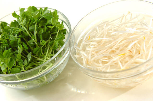 豆苗とモヤシのキムチ風の作り方の手順1