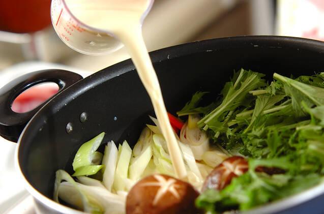 ブリと豆腐の豆乳煮の作り方の手順2