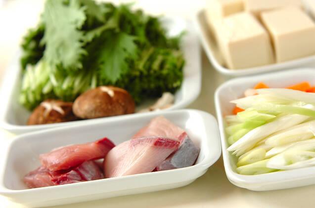 ブリと豆腐の豆乳煮の作り方の手順1