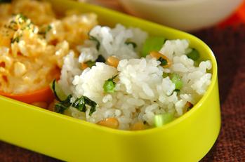 松の実と小松菜の混ぜご飯