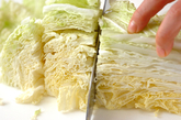 白菜と豚肉の煮物の下準備1